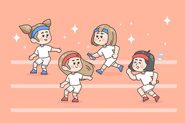 Festival sportivo disegnato a mano Vettore Premium
