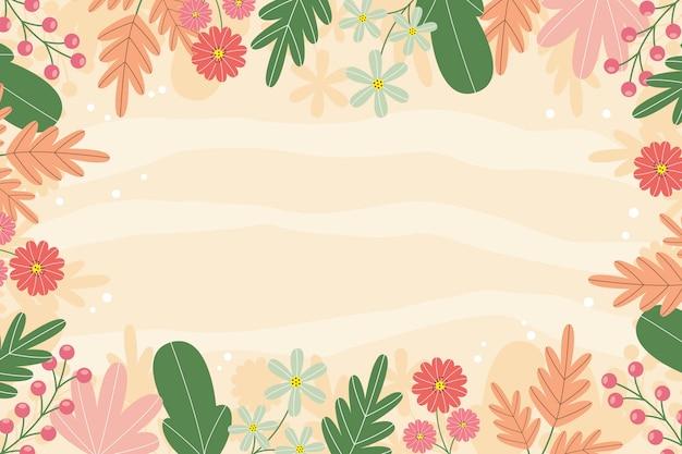 Sfondo primavera disegnata a mano con fiori