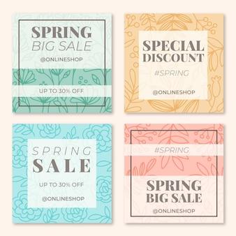 Collezione di post di instagram di vendita di primavera disegnata a mano