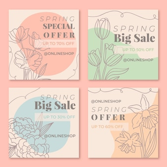 Insieme di post di instagram di vendita di primavera disegnata a mano