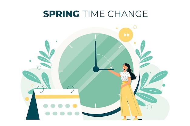 Illustrazione disegnata a mano del cambiamento di tempo di primavera con la donna e l'orologio