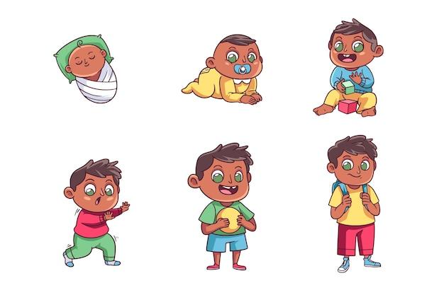 Fasi disegnate a mano di una collezione di neonato