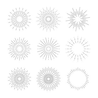 Raggi starburst disegnati a mano in un semplice design retrò
