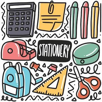 Doodle di cancelleria disegnati a mano con icone ed elementi di design