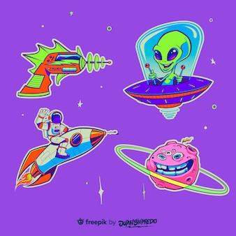 Collezione di adesivi disegnati a mano con tema spaziale
