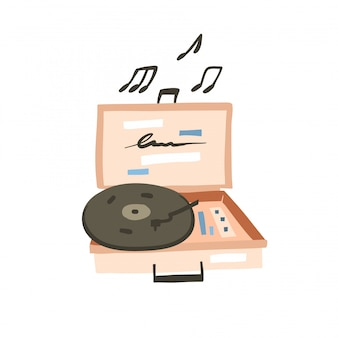 Illustrazione grafica stock astratta disegnata a mano del fumetto con il registratore moderno del vinile del disegno semplice d'avanguardia astratto su fondo bianco