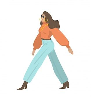 Le illustrazioni grafiche di riserva astratte disegnate a mano hanno messo con giovane carattere femminile nell'usura di stile di modo della via che cammina sulla via su fondo bianco