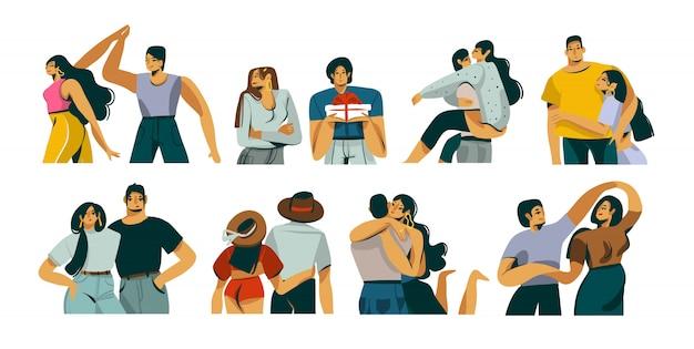 Illustrazione grafica stock astratta disegnata a mano di san valentino con insieme insieme stabilito delle giovani coppie romantiche insieme su fondo bianco.