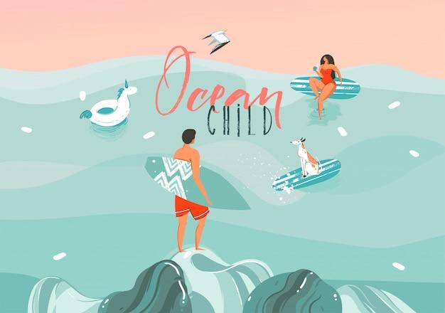 Illustrazione disegnata a mano dell'estratto di riserva con una ragazza divertente del surfista prendente il sole con il cane nel paesaggio delle onde di oceano, nuotando e praticando il surfing sul fondo di colore