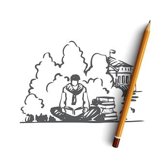 Illustrazione disegnata a mano dello studente