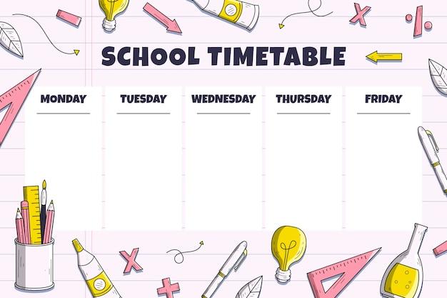 Stile disegnato a mano torna all'orario scolastico