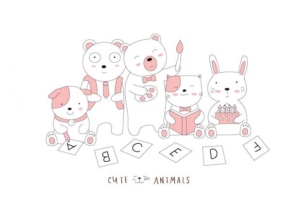 Stile disegnato a mano. schizzo del fumetto i cuccioli di postura carina