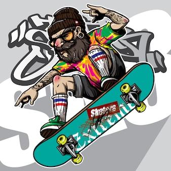 Stile disegnato a mano di pantaloni a vita bassa in sella a skateboard