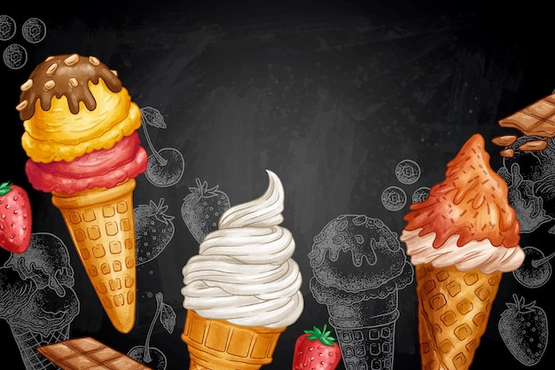 Fondo disegnato a mano della lavagna del gelato di stile