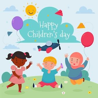 Giornata mondiale dei bambini in stile disegnato a mano