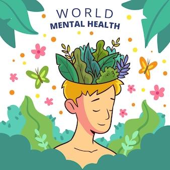 Giornata mondiale della salute mentale in stile disegnato a mano