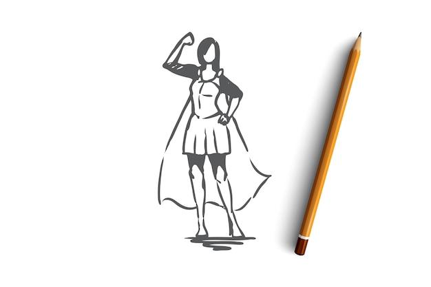 Schizzo di concetto di imprenditrice di successo e fiducia disegnata a mano