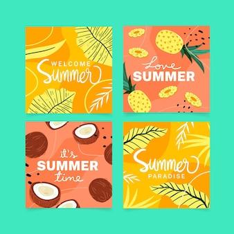 Collezione di carte estate disegnata a mano