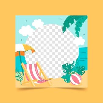 Modello di cornice di facebook estate disegnata a mano