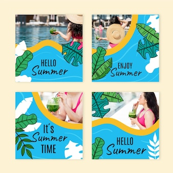 Raccolta di post di instagram estivi disegnati a mano con foto
