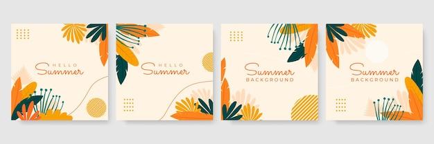 Post di instagram estivi disegnati a mano o raccolta di modelli di storie sui social media