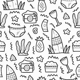 Disegno del modello del fumetto di doodle di estate kawaii disegnato a mano
