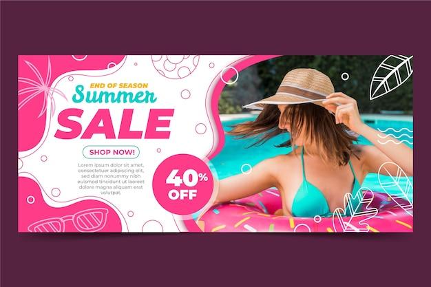 Modello di banner di vendita estiva disegnata a mano con foto