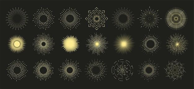 Sunburst disegnato a mano, burst radiale vintage, sole di linea astratta. insieme dello sprazzo di sole di raccolta. sole, fuochi d'artificio o esplosione di raggio di sole al tramonto retrò.