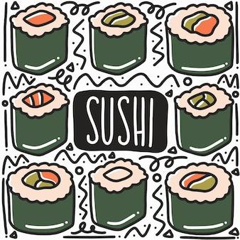 Doodle di sushi disegnato a mano con icone ed elementi di design