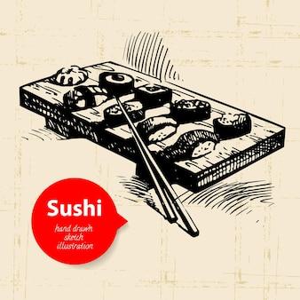 Illustrazione di sushi disegnata a mano. sfondo di schizzo