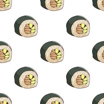 Modello senza cuciture sushi disegnato a mano