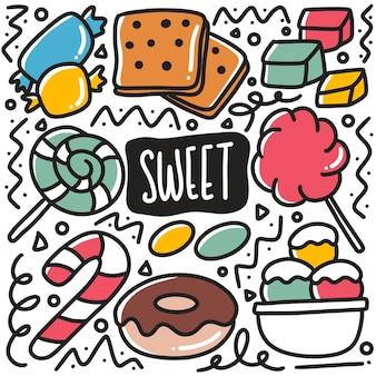 Doodle dolce disegnato a mano impostato con icone ed elementi di design