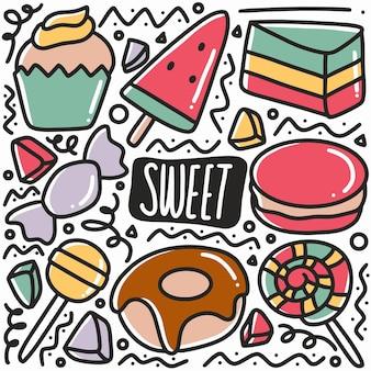 Doodle di cibo dolce disegnato a mano con icone ed elementi di design