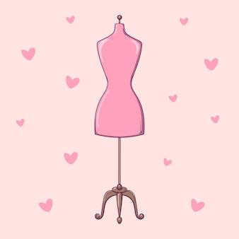 Manichino del sarto disegnato a mano, manichino su sfondo rosa con cuori.