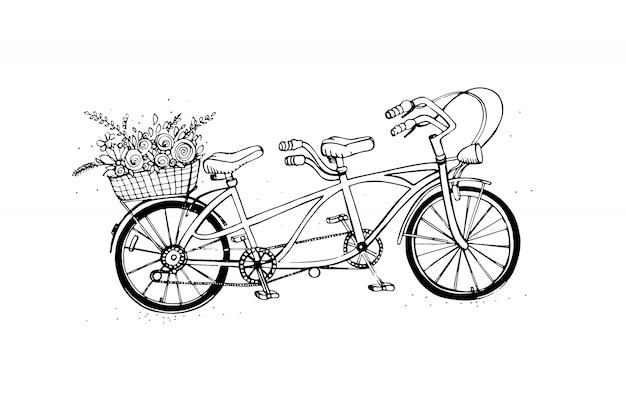 Bicicletta di città tandem disegnata a mano con cesto di fiori
