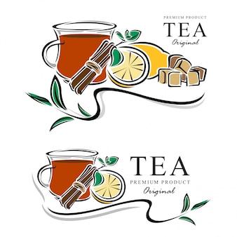 Illustrazione di vettore di elementi di banner di tè disegnato a mano Vettore Premium