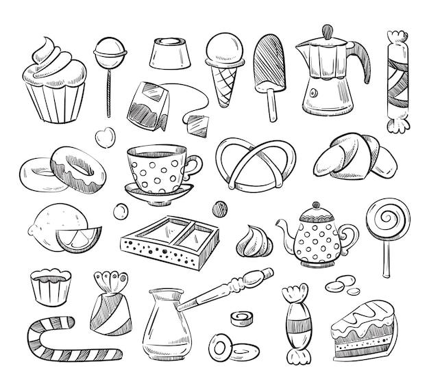 Tazza da tè disegnata a mano, caffè, torte, dolci divertenti doodle.