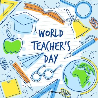Priorità bassa di giorno di insegnanti disegnati a mano Vettore Premium