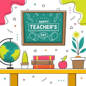 Illustrazione disegnata a mano del giorno degli insegnanti