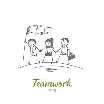 Schizzo di concetto di lavoro di squadra disegnato a mano