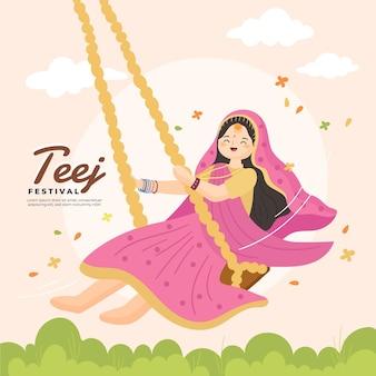 Illustrazione disegnata a mano del festival di teej