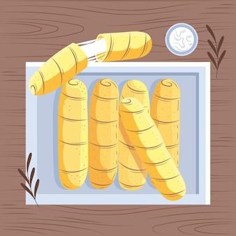 Illustrazione di tequenos disegnata a mano