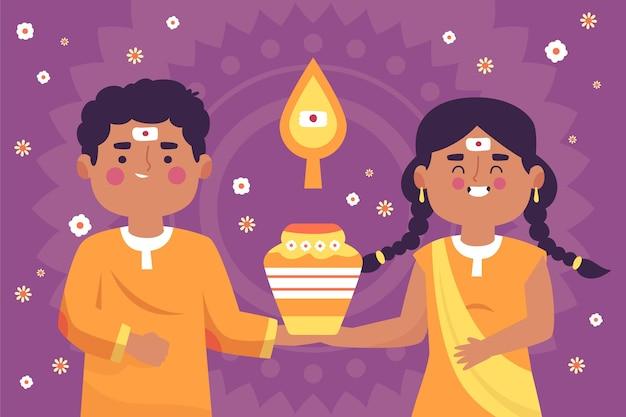 Festival di thaipusam disegnato a mano