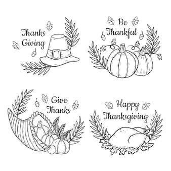 Collezione di badge del ringraziamento disegnati a mano