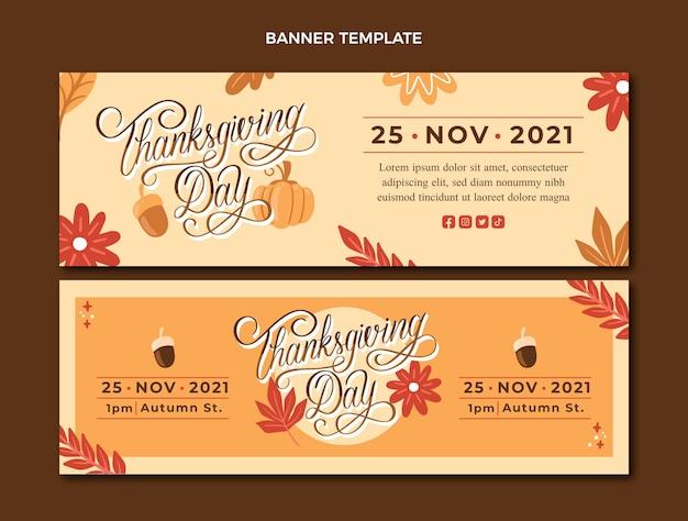 Set di banner orizzontali di ringraziamento disegnati a mano