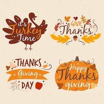 Collezione di etichette di ringraziamento disegnate a mano
