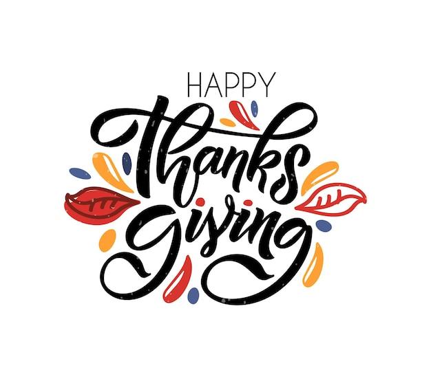 Citazione di celebrazione del manifesto di tipografia del ringraziamento disegnato a mano felice ringraziamento su strutturato