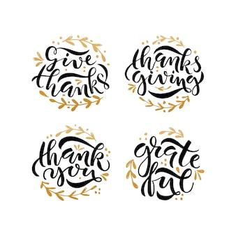 Insieme di poster di tipografia del ringraziamento disegnato a mano citazioni di celebrazione ringraziamento ringraziare