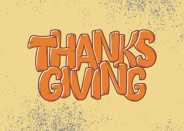 Poster di tipografia del ringraziamento disegnato a mano.