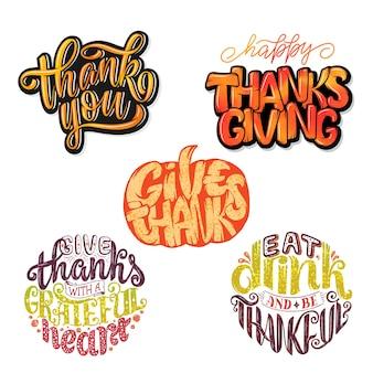 Citazioni di tipografia del ringraziamento disegnate a mano. celebrazione frasi scritte.